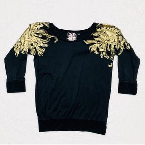 Lamb black long sleeve with gold detail